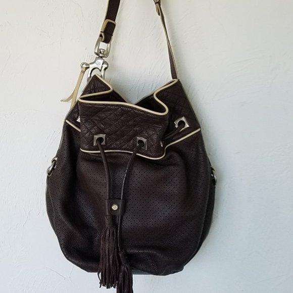 Francesco Biasia Brown Leather Bucket Shoulder Bag